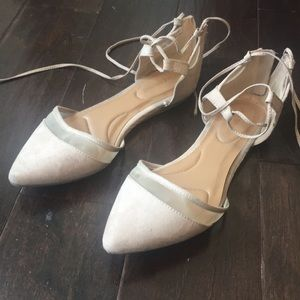 Lane Bryant faux suede nude flat ankle wrap around
